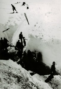 Visitors near ramp cut to the Community House in Crater Lake NP, circa 1931-1932
