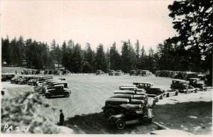 Visitors parked in the Rim Village area in Crater Lake NP, 1920s