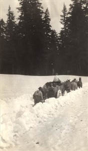 Wagon traveling through snow in Crater Lake NP (date unknown)