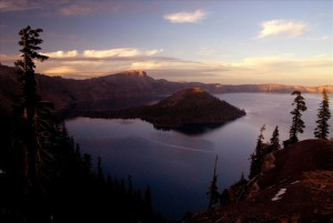 Wizard Island at Sunset in Crater Lake NP, 2009 Dave Harrison