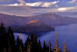 Wizard Island at Sunset in Crater Lake NP, 2009 Dave Harrison NPS