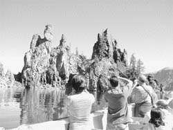 The Phantom Ship drew the attention of people touring Crater Lake Sunday.