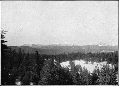 Figure 3. Cones and coulees of the summit platform of the Cascade Range. Union Peak on the right Mount McLaughlin (Pitt) in the distance.