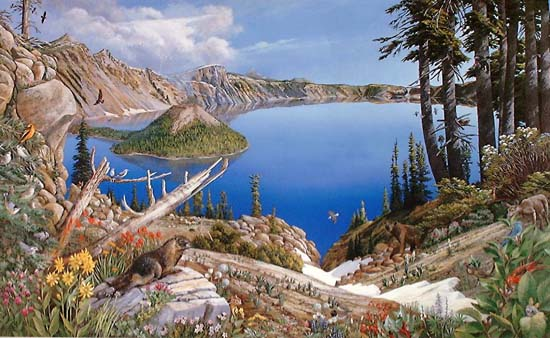 "Crater Lake National Park by Larry Eifert, Painting. Acrylic on hardboard, this 48""x64"" painting was commissioned by the Crater Lake Institute in 1998. Posters, cards and jigsaw puzzles were created of the image."