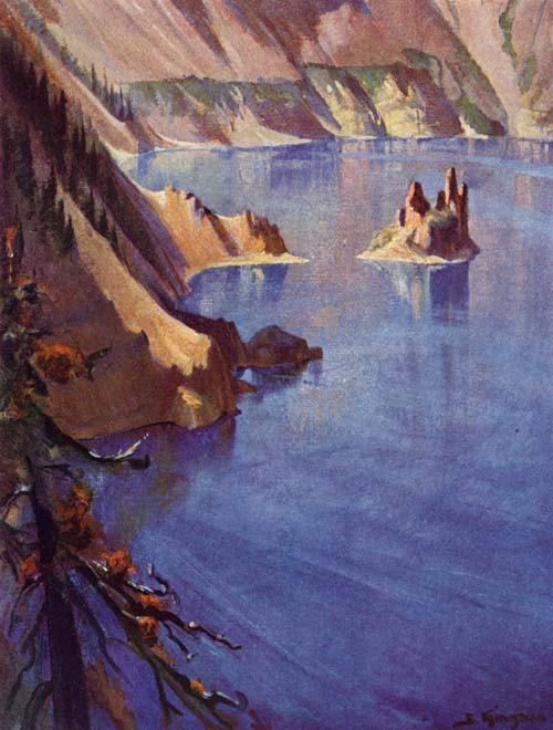 Wind and Light Are Forever Altering the Color of Crater Lake, Painting Crater Lake Institute Archives Watercolor on European paper 29 3/4 x 13 1/2 in. (25 cm x 45 cm) Fred Kiser corp.
