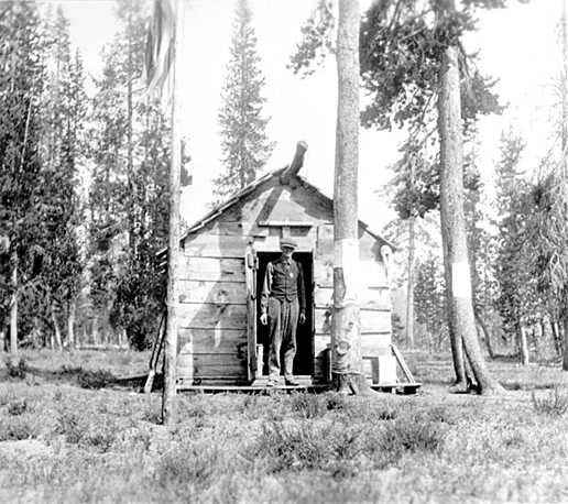 Ranger at Ranger Cabin Near North Boundary at Crater Lake National Park, historic photograph 1917 Image source: NPS Historic Photograph Collection (online) at Harper's Ferry web site. Description: Ranger at ranger cabin near north boundary at Crater Lake NP. At this time it was a trail to Diamond Lake. Catalog Number: HPC-001036