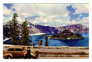 Back Caption: Crater Lake in Crater Lake National Park, Oregon. Reposing in the crater of a once gigantic volcano, the lake has a tremendous depth of 2,000 feet which accounts for its indigo blue color. Take Highway 97 from Bend or 99 from Medford. Card Number(s): No. 84 in Union Oil Company's Natural Color Scenes of the West Publisher: Copyright 1941 Union Oil Co. of Calif. Made in U.S.A.