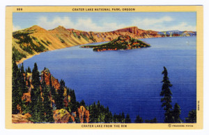 Title: Crater Lake National Park, Oregon, Crater Lake From the Rim Back Caption: Crater Lake's dwelling place is known as Mount Mazama, and is located in Southern Oregon. This broken mountain with its lofty crags, soars seven and eight thousand feet above sea level. The lake that lies within its precipitous circling walls, is a thousand or more feet below the rim, and is one of the deepest fresh water lakes on earch, --a vast glittering body of water of deepest indigo. Card Number(s): 886, 7A-H988 Photographer: Frashers Fotos Publisher: Wesley Andrews, Inc., Portland, Ore.