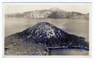Title (front): Mt. Scott and Wizard Island Crater Lake Postmark: Crater Lake, Oregon. Sep 14 1912 A.M. Stamp: 1 cent Card Number(s): 1208 (front) Photographer: Copyright 1911 by Miller Photo Co. Publisher: Miller Photo Co., Klamath Falls, Oregon Writing Correspondence: Yes