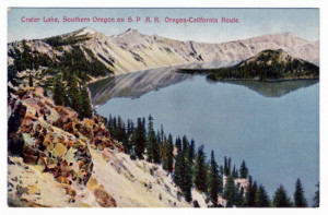 Title: Crater Lake, Southern Oregon on S. P. R. R. Oregon-California Route. Card Number(s): 7332 (back) Publisher: Barkalow Bros., Railway News Service, Portland, Oregon. (Made in Germany).