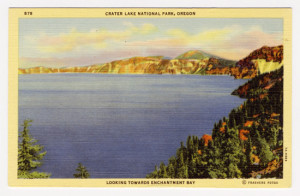 "Title: Crater Lake National Park, Oregon, Looking Toward Enchantment Bay Card Number(s): ""The Jeweled Sapphire of the Cascades"" Unlike and other natural wonder in the world, Located in Southern Oregon. 6000 feet above sea level. A body of water six miles in diameter of unbelievable blue, occupying the crater of an extinct volcano. Encircled by steep walls of lava, that tower 2000 feet above the surface of the Lake. Card Number(s): 878, 7A-H989 Photographer: Frashers Fotos Publisher: Wesley Andrews, Co., Portland, Ore."