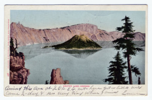 Back Caption: Crater Lake-No. 1198-Looking northwest from Lodge Card Number(s): No. 1198 (back) Photographer: Copyright (symbol only) Kiser Publisher: Scenic America Co. by West Coast Engraving Co., Portland, Oregon. Printed in U.S.A.