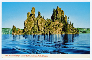 Title (front): The Phantom Ship, Crater Lake National Park, Oregon Back Caption: The Phantom Ship, Crater Lake National Park, Towering more than 165 feet above Crater Lake's blue, the Phantom Ship, formed by the volcano whose eruption created the lake, serenely withstands the centuries. Card Number(s): C26637 (back) Photographer: Mike Roberts Color Productions, Oakland, CA 94623 Publisher: Canyon Publishing Co., Canyonville, OR 97417
