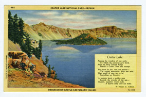 Title: Crater Lake National Park, Oregon, Observation Castle and Wizard Island Back Caption: In Southern Oregon, sixty miles north of the California line, stands a broken remnant of a once mighty mountain. In the ancient crater bowl of this mountain, lies one of the world's scenic wonders, a lake whose romantic setting and bewitching coloring are unmatched anywhere. The lake itself is a six and one half miles long and four and a quarter miles wide. Its depth varies up to 2000 feet. It is entirely surrounded by steep volcanic cliffs that rise 2000 feet above the surface. Card Number(s): 885, 7A-H998 Publisher: Wesley Andrews Co., Portland, Ore.