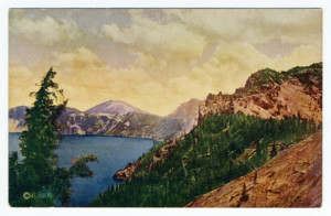 Back Caption: Crater Lake-No. 2241-East from Victor Rock, Crater Lake Card Number(s): No. 2241 (back) Photographer: Copyright (symbol only) Kiser Publisher: Scenic America Co. by West Coast Engraving Co., Oregon. Printed in U.S.A.