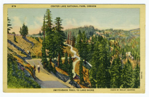 Title: Crater Lake National Park, Oregon, Switchback Trail to Lake Shore Postmark: Medford, Oreg. Sep 10, 3 PM 1947 Stamp: 1 cent Card Number(s): 879, 7A-H990 Photographer: Wesley Andrews Publisher: Wesley Andrews Co., Portland, Ore.