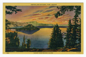 "Title: Crater Lake National Park, Oregon, Sunset Over Wizard Island Back Caption: When the sun is in the west, and the shadows fall on the shimmering surface of this great ""Sea of Silence"", words prove futile to describe the effect on those viewing this grand spectacle for the first time. Card Number(s): 884, 7A-H992 Publisher: Wesley Andrews, Inc., Portland, Ore."