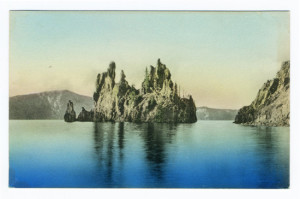 Back Caption: Phantom Ship in Crater Lake, near Ashland, Oregon. Publisher: McNair Bros., Ashland, Oregon