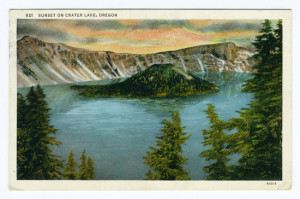 Title: Sunset on Crater Lake, Oregon Postmark: Boardman, Oreg. Aug 11, 1936 Stamp: 1 cent Back Caption: Crater Lake is one of the grandest natural scenic lakes of the west. It is the highest body of water existing, being 8,000 feet above sea level, exceeds 2,000 feet in depth and has no visible outlet. Is surrounded by a National Reserve, situated in the Cascade Range, very popular for vacation and automobile trips. Card Number(s): 921, 90318 Publisher: Wesley Andrews, Inc., Portland, Ore.