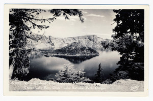 Title: Wizard Island, Llao Rock, and Mt. Thielson from Crater Lake Rim, Crater Lake National Park, Oregon. Postmark: Crater Lake, Ore. Jul 1941 Stamp: 1 cent Card Number(s): 14 099 (front) Publisher: Sawyer Scenic Photos