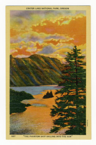 "Title: Crater Lake National Park, Oregon, ""The Phantom Ship Sailing Into the Sun"" Back Caption: When the sun is in the west, and shadows fall on the shimmering surface of glittering waves, this small island of sharp pinnacles rising 175 feet above the surface of Crater Lake, resembles a full rigged ship sailing into the sun. Card Number(s): 887, 7A-H996 Photographer: Wesley Andrews Co. Publisher: Wesley Andrews, Inc., Portland, Ore."