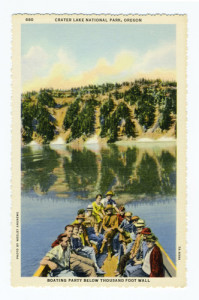 "Title: Crater Lake National Park, Oregon, Boating Party Below Thousand Foot Wall Back Caption: Crater Lake is six and one half miles long, and four and a quarter miles wide. Its depth varies up to 2,000 feet. It is entirely surrounded by steep volcanic cliffs ranging from one to two thousand feet above the water's edge. Large passenger launches make regular trips to Wizard Island and ""Phantom Ship"". Card Number(s): 880, 7A-H994 Photographer: Wesley Andrews Publisher: Wesley Andrews Co., Portland, Ore."