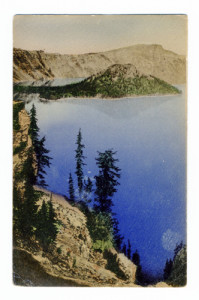 Title (front): None Postmark: Crater Lake, Oregon. Jul 27, 1921 P.M. Stamp: 1 cent Back Caption: Wizard Island from Victor Rock. Crater Lake National Park, Ore. Publisher: Crater Lake Co., Crater Lake, Ore.