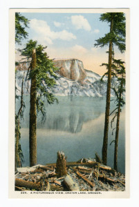 Title: A Picturesque View, Crater Lake, Oregon. Card Number(s): 226 (front), A-55960 (back) Publisher: Chas. & Lipschuetz Company, Portland, Oregon