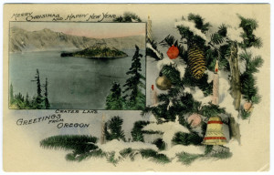 Title: Merry Christmas and Happy New Year, Greetings from Crater Lake, Oregon Postmark: Salem, Oregon, Dec 18-1? 5PM Stamp: 1 cent Publisher: Patton Post Card Co., Salem, Oregon.