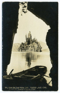 Title (front): Phantom Ship From Cave, Crater Lake, Ore. C.L.P. Co Klamath Falls Ore. Card Number(s): 34. Writing Correspondence: Yes