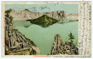 Title (front): Crater Lake, Oregon Postmark: C?BURE, OREG., JUL 7?, 7AM, 1905? Stamp: 1 cent Card Number(s): 496 (front) Publisher: Edward H. Mitchell, San Francisco