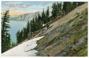 Title: Steep Banks of Crater Lake, Southern Oregon Postmark: Salem, Oregon, Jan 9 12-30P, 1911 Stamp: 1 cent Card Number(s): 7063 (back) Publisher: Portland Post Card Co., Portland, Ore. and Seattle, Wash. (Printed in Germany.)