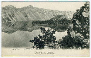 Title (front): Crater Lake, Oregon. Postmark: Illegible Stamp: Removed? Publisher: Meier & Frank Co., Portland, Ore., Printed in Germany Writing Correspondence: Yes