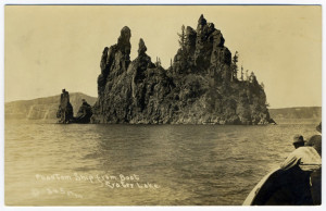 Title (front): Phantom Ship from Boat, Crater Lake. Card Number(s): 345 (front)