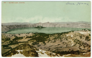 Title: 496 - CRATER LAKE, OREGON. (front, upper-left) Stamp: None. PLACE STAMP HERE, DOMESTIC ONE CENT, FOREIGN TWO CENTS box Vertical Divider Text (back): None. Center divider line. Card Number(s): 496 (front, upper-left corner) Photographer: Unknown. Publisher: EDWARD H. MITCHELL. PUBLISHER, SAN FRANCISCO (back, bottom left), PRINTED IN THE UNITED STATES (back, left-corner, vertical text)