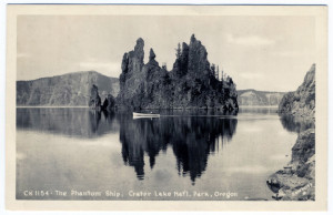 Title: The Lodge on the Rim of Crater Lake, Ore. (front, bottom left) Postmark: CRATER LAKE?, OREG., NOV 07, 19?? Stamp: 1 cent green, George Washington Post Card Era: Card Number(s): 1598-ART-RAY. (front, bottom-right corner) Publisher: ART-RAY? (front, bottom-right corner) Writing Correspondence: Yes. Writing Address: Yes.