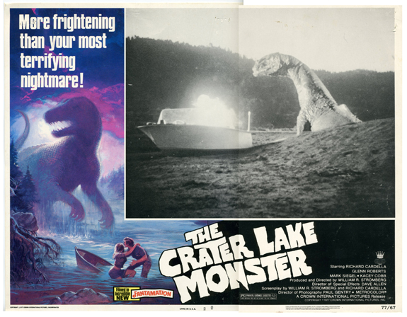 1977 Crater Lake Monster Movie Lobby Card Lithograph, 1977 11 x 14 inches Copyright 1977 Crown International Pictures, Inc. Description This image is a scan and the original item is a part of the Crater Lake Institute's collection of Crater Lake historical artifacts.