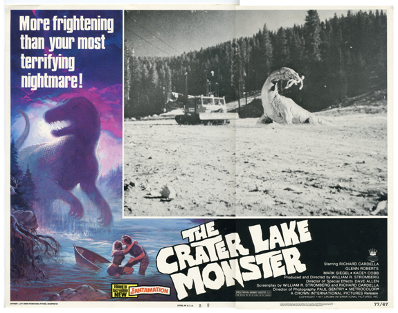 1977 Crater Lake Monster Lobby Card Lithograph, 1977 11 x 14 inches Copyright 1977 Crown International Pictures, Inc.