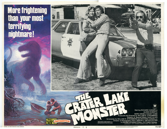 1977 Crater Lake Monster Lobby Card Lithograph, 1977 11 x 14 inches Copyright 1977 Crown International Pictures, Inc. Description This image is a scan and the original item is a part of the Crater Lake Institute's collection of Crater Lake historical artifacts.