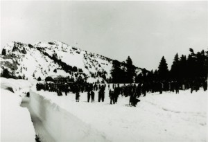 visitors at Rim Village in Winter in Crater Lake NP, circa 1931-1932 Charles H. Simpson, probably snow carnival